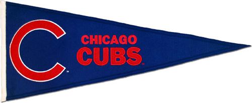 Buy Chicago Cubs Wool Pennant Red Blue Throwback Design