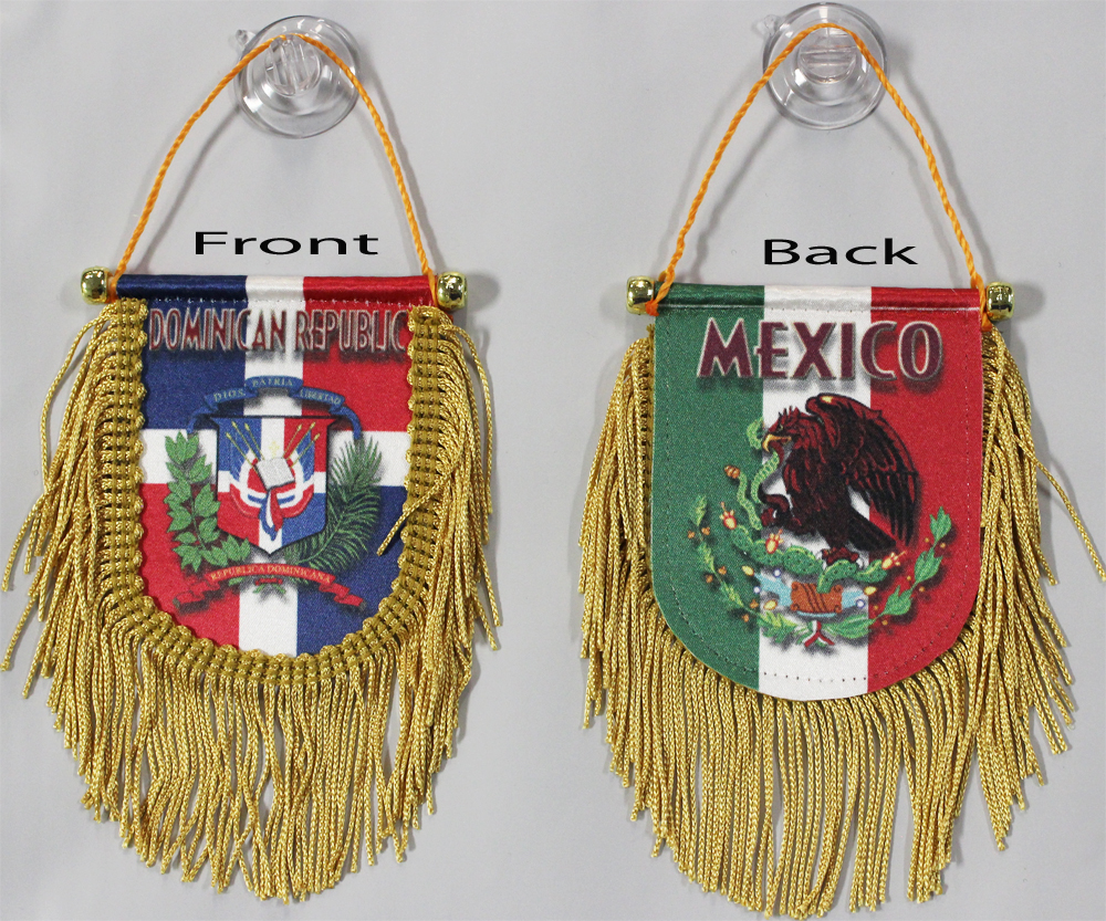 Buy Dominican Republic Mexico   Double Sided Window Hanging Flag (Shield) |  Flagline