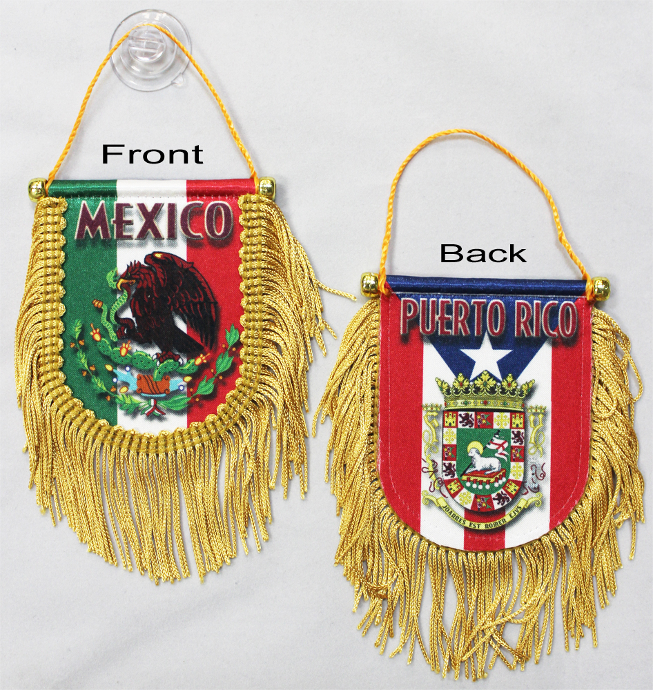 Buy Mexico-Puerto Rico - Double Sided Window Hanging Flag (Shield ...