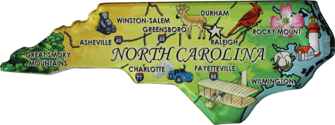North Carolina State Map Shape and Flag Design Magnet