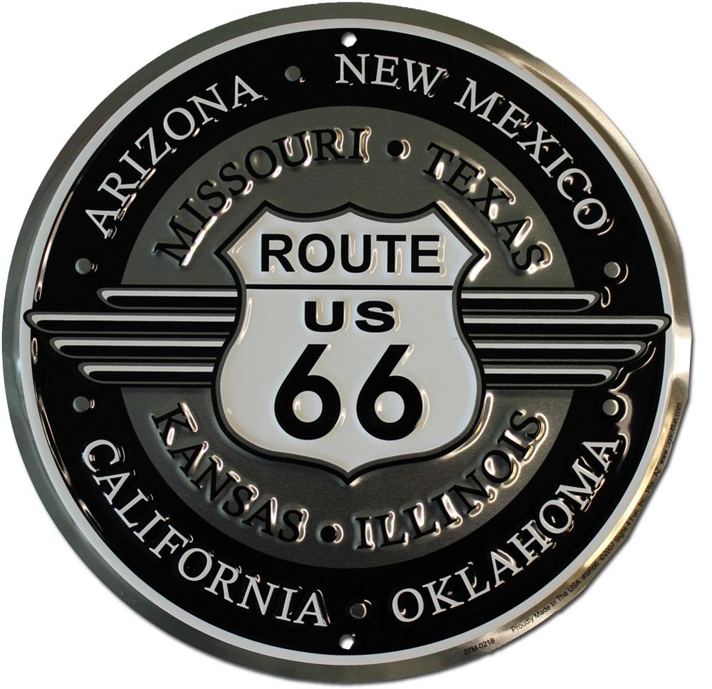 buy route 66 round deco sign flagline. Black Bedroom Furniture Sets. Home Design Ideas