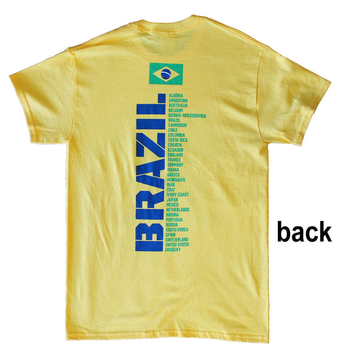 Buy brazil world cup soccer 2014 t shirt flagline for Best dress shirts in the world