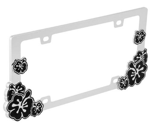 Buy Hibiscus Black License Plate Frame Flagline