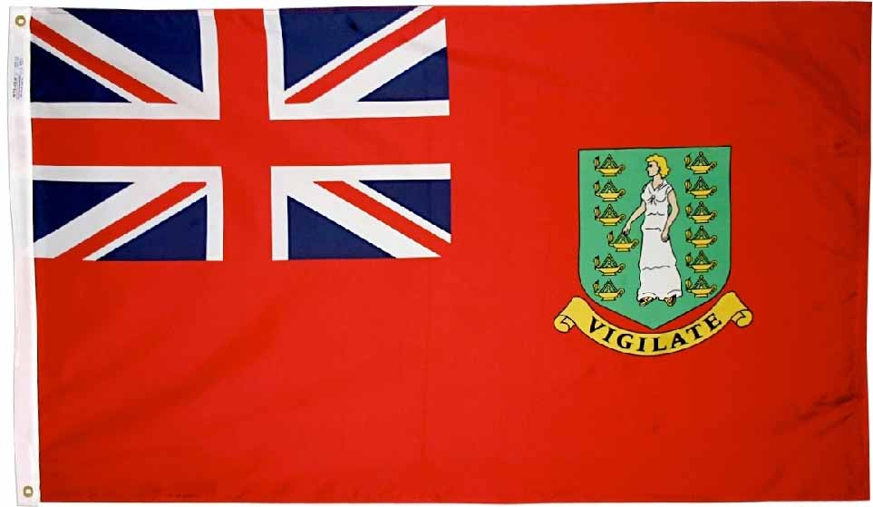 Buy British Virgin Islands 2 X3 Nylon Flag Red Flagline