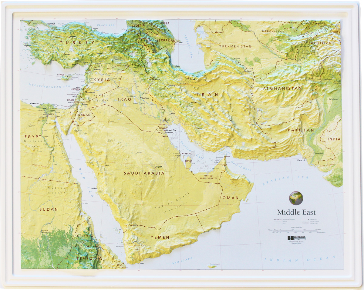Buy Middle East Relief Map Flagline