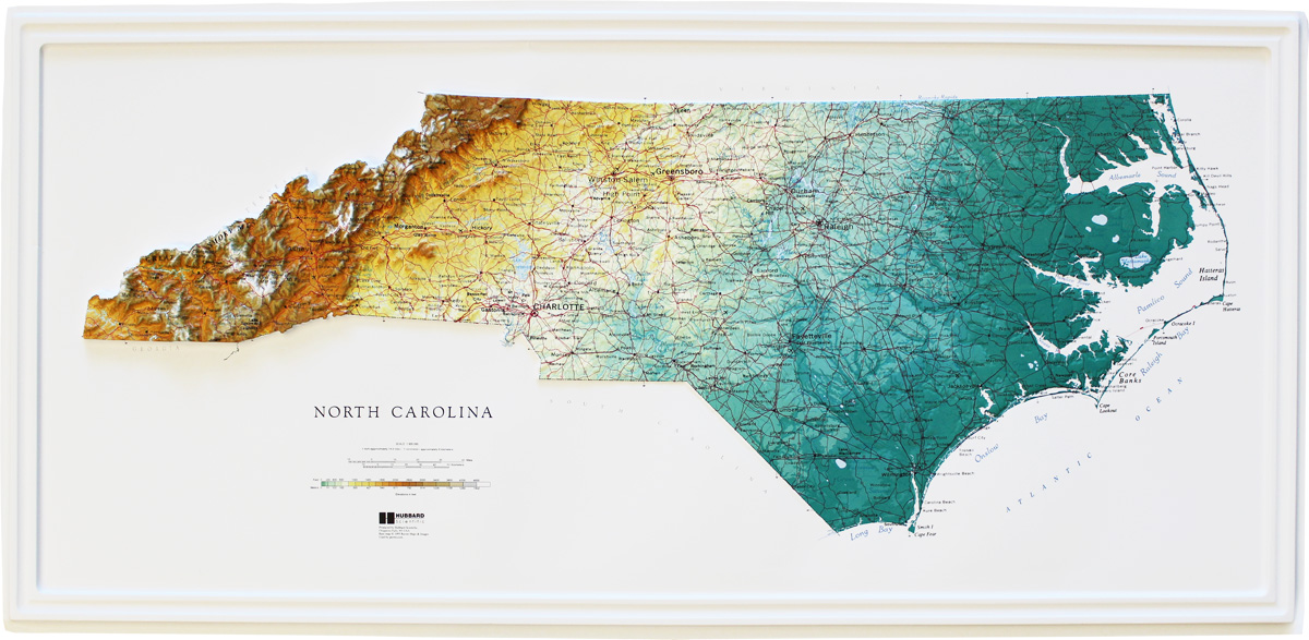 Buy North Carolina Relief Map Flagline