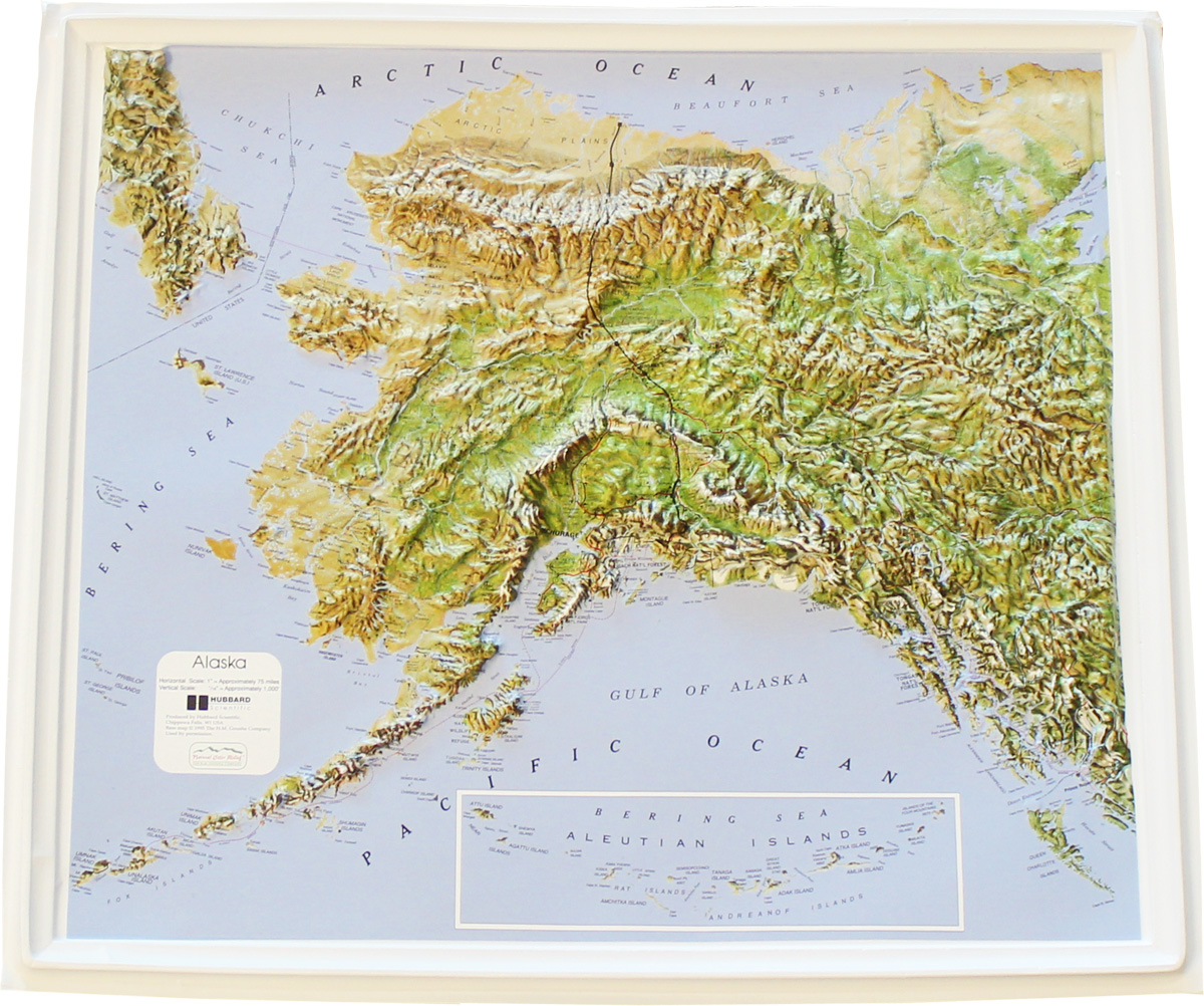Buy Alaska Relief Map Flagline