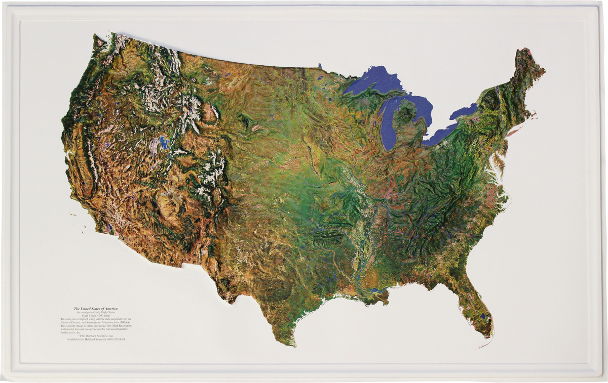 Buy USA Relief Map Satellite Flagline - Usa map buy