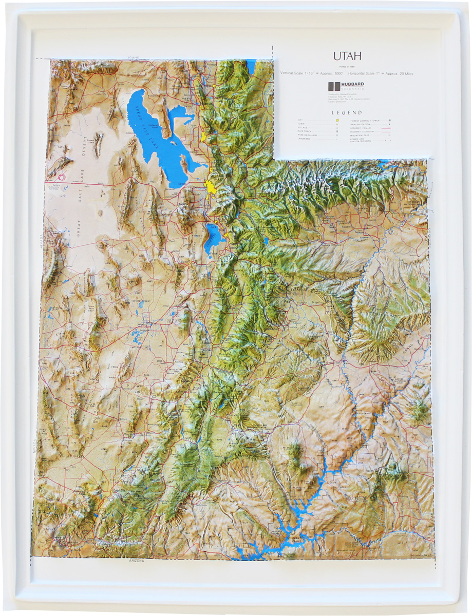 Buy Utah Relief Map Flagline