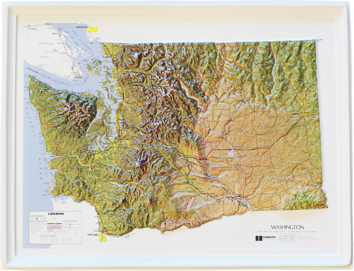 Buy Washington Relief Map Flagline