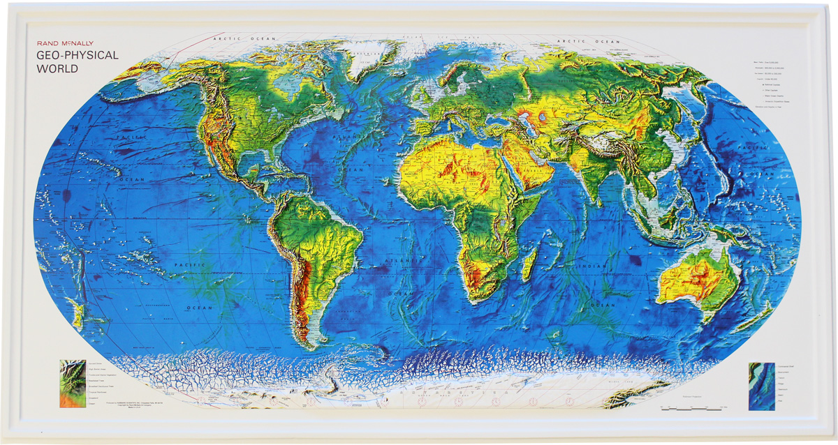 Buy World Relief Map Geophysical Flagline
