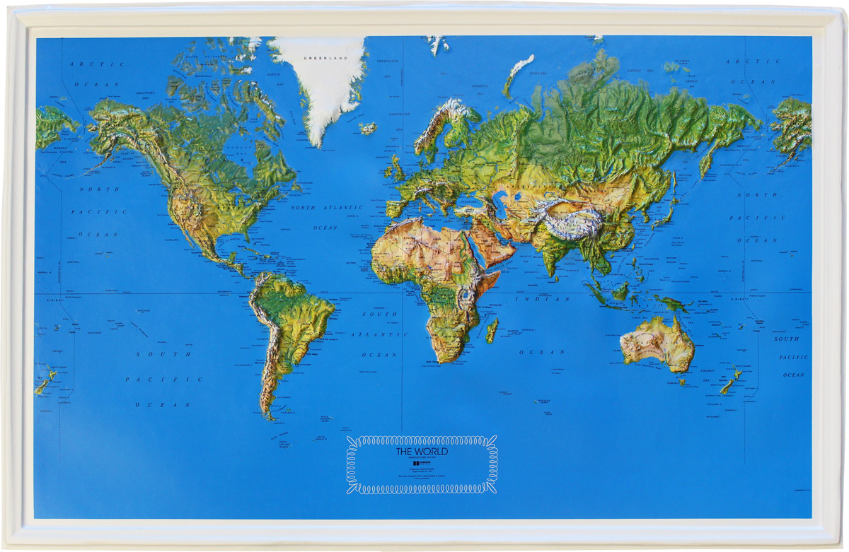 Buy World Relief Map 34 x 22 Flagline