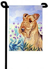 garden banners. Airedale (Among The Flowers) - 11\ Garden Banners